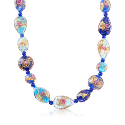 Multicolored Murano Glass Bead Necklace in 18kt Gold Over Sterling, , default