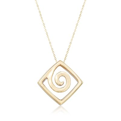 Italian 14kt Yellow Gold Swirling Square Drop Necklace, , default