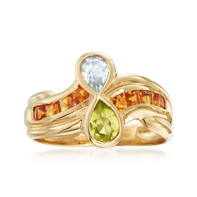 C. 1970 Vintage 1.25 ct. t.w. Multi-Gemstone Ring in 10kt Yellow Gold