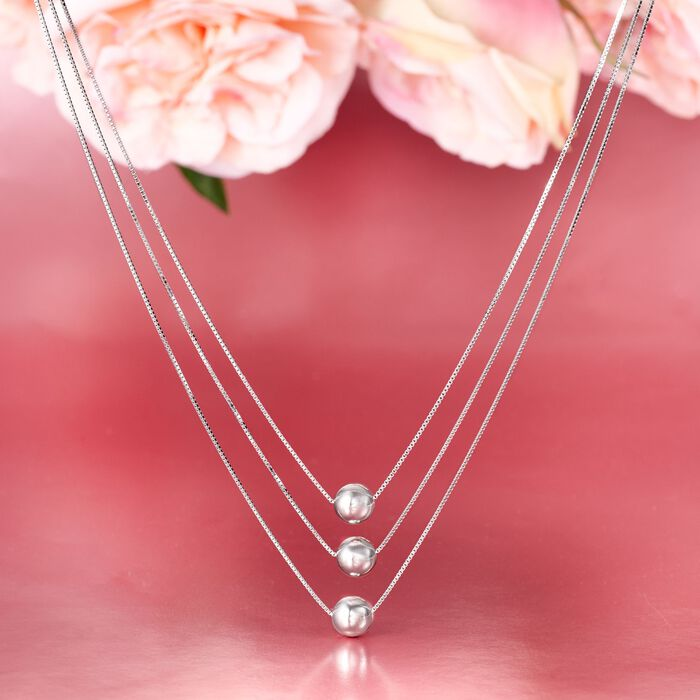 Sterling Silver Three-Strand Layered Bead Necklace