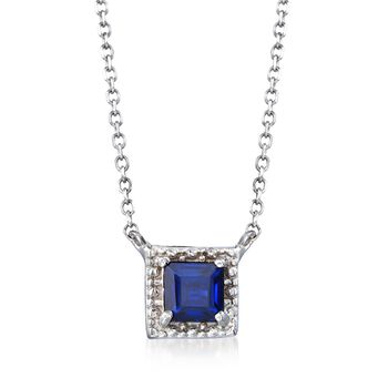 """.40 Carat Square Sapphire Necklace in 14kt White Gold. 16"""", , default"""