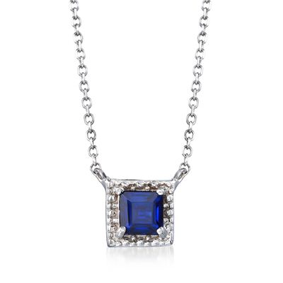 .40 Carat Square Sapphire Necklace in 14kt White Gold, , default