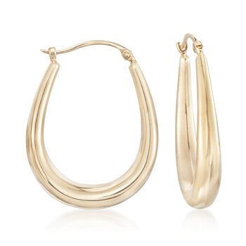 "14kt Yellow Gold Graduated Hoop Earrings. 1 1/8"", , default"
