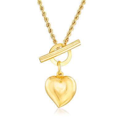 Italian 18kt Yellow Gold Heart Toggle Necklace, , default