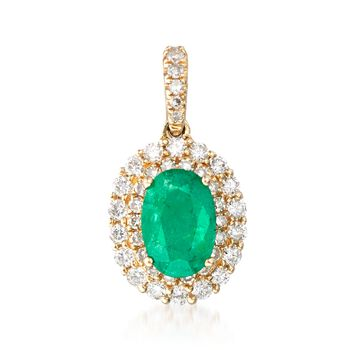 .90 Carat Emerald and .39 ct. t.w. Diamond Pendant in 14kt Yellow Gold, , default