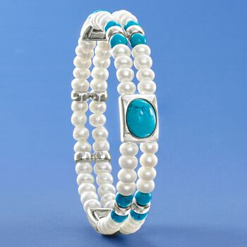 """4.5-5mm Cultured Pearl and Simulated Turquoise Cuff Bracelet in Sterling Silver. 7.5"""", , default"""