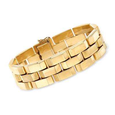 C. 1980 Vintage 14kt Yellow Gold Brick-Link Bracelet