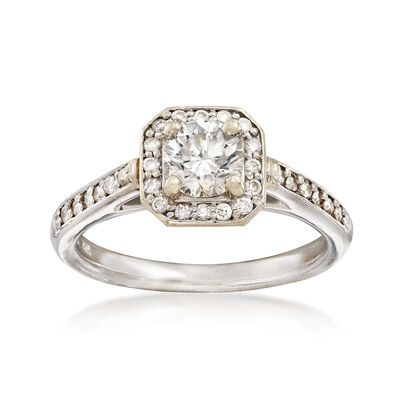 C. 2000 Vintage 1.15 ct. t.w. Diamond Square Halo Ring in 14kt White Gold, , default