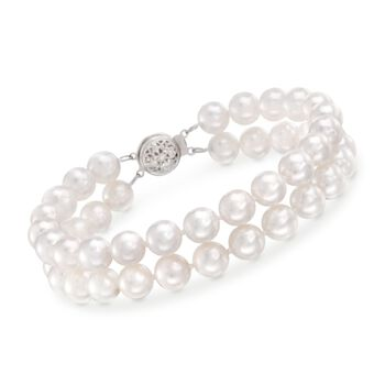 """7-7.5mm Cultured Akoya Pearl Two-Strand Bracelet With 14kt White Gold. 7.25"""", , default"""