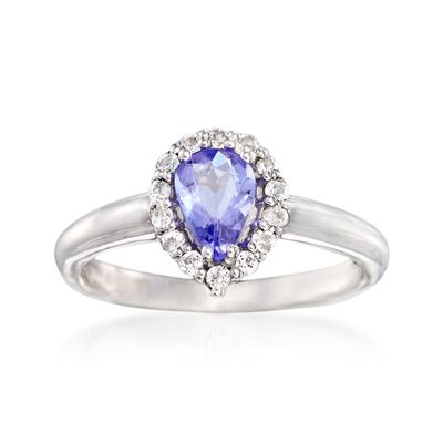 .60 Carat Tanzanite and .30 ct. t.w. White Topaz Ring in Sterling Silver, , default