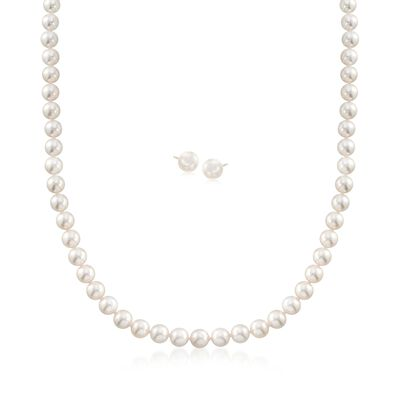 Mikimoto 6-7mm A1 Akoya Pearl Jewelry Set: Necklace and Earrings with 18kt Yellow Gold, , default