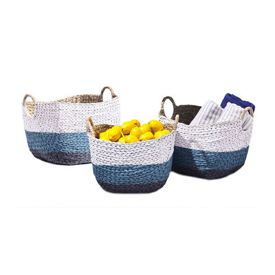 "Set of 3 ""Santorini"" Blue and White Hand-Woven Baskets, , default"