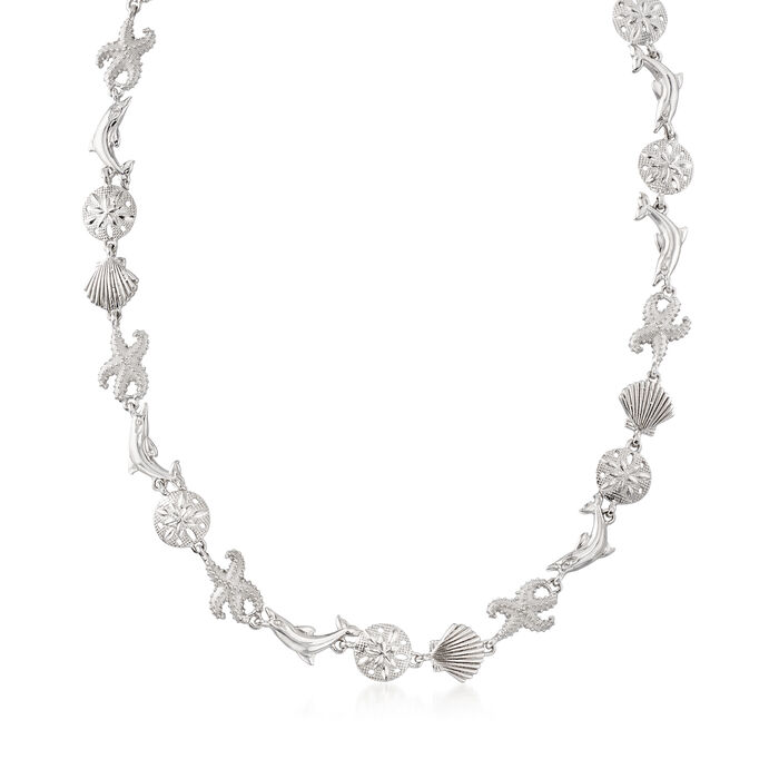 Sterling Silver Sea Life Link Necklace, , default