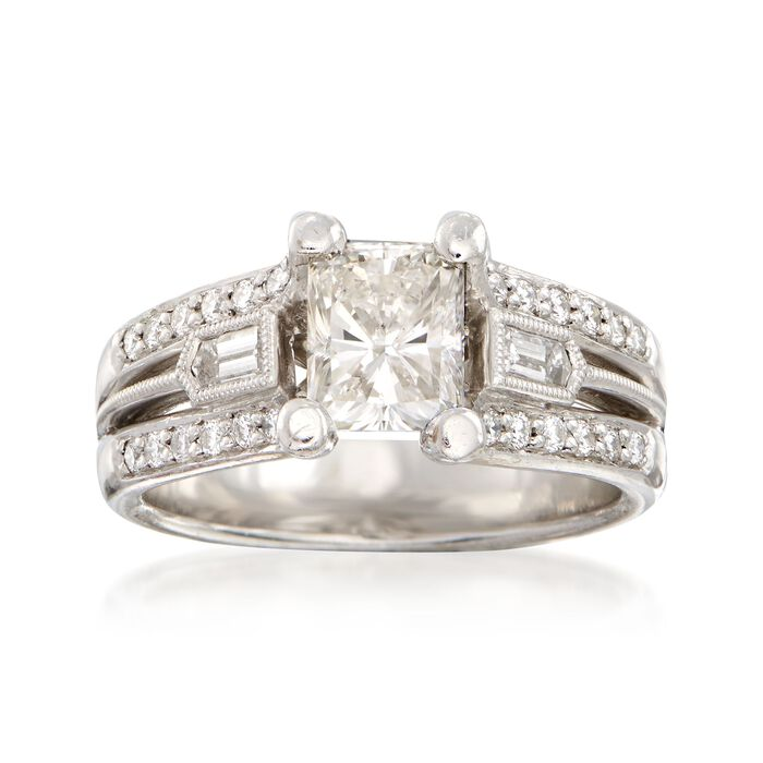 C. 2000 Vintage 1.73 ct. t.w. Certified Diamond Ring in 18kt White Gold. Size 6.5