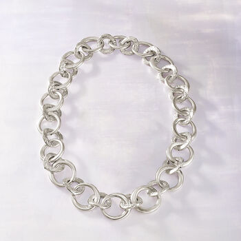 """Italian Sterling Silver Circle-Link Necklace. 20"""", , default"""