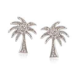 14kt White Gold Palm Tree Earrings With Diamond Accents, , default