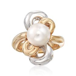 10-10.5mm Cultured Pearl Flower Ring in 14kt Yellow Gold, , default