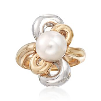 10-10.5mm Cultured Pearl Flower Ring in 14kt Yellow Gold. Size 5, , default