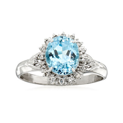 C. 1980 Vintage 2.10 Carat Aquamarine and .18 ct. t.w. Diamond Ring in Platinum, , default