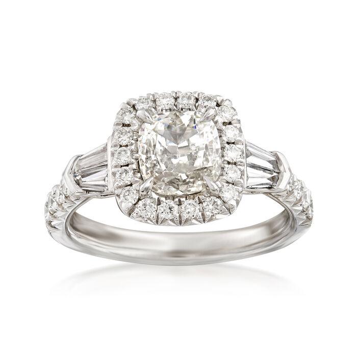 Henri Daussi 1.53 ct. t.w. Diamond Halo Engagement Ring in Platinum    , , default