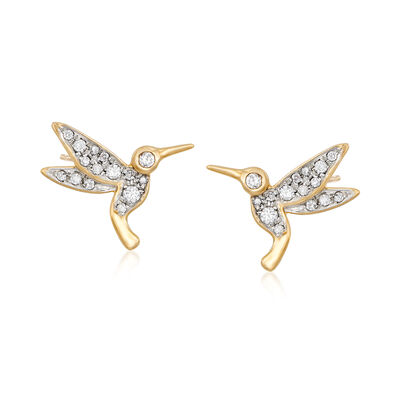 .30 ct. t.w. Diamond Hummingbird Stud Earrings in 18kt Gold Over Sterling