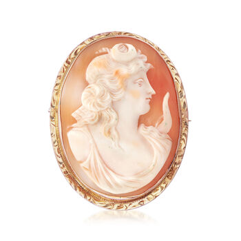 C. 1950 Vintage Oval Shell Cameo Pin Pendant in 14kt Yellow Gold, , default