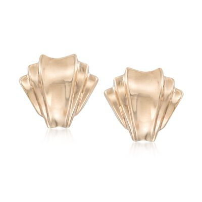 14kt Yellow Gold Fan Clip-On Earrings, , default