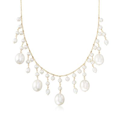 3-10mm Cultured Pearl Fringe Necklace in 14kt Yellow Gold