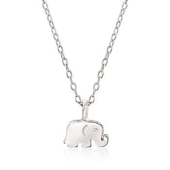 """Sterling Silver Polished Elephant Pendant Necklace. 16"""", , default"""