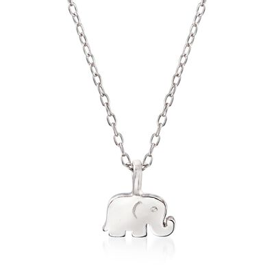 Sterling Silver Polished Elephant Pendant Necklace, , default