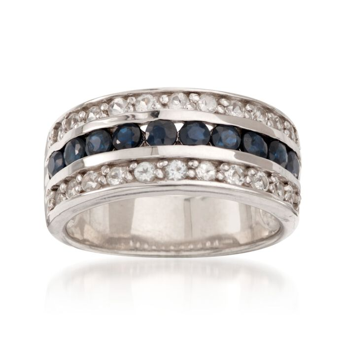 .80 ct. t.w. Sapphire and .65 ct. t.w. White Topaz Multi-Row Ring in Sterling Silver, , default