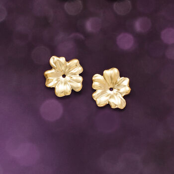 14kt Yellow Gold Flower Petal Earring Jackets, , default