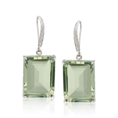 31.00 ct. t.w. Green Prasiolite and .10 ct. t.w. Diamond Drop Earrings in Sterling Silver