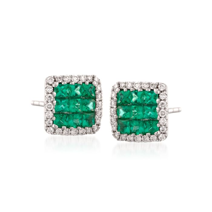 Gregg Ruth .46 ct. t.w. Emerald and .13 ct. t.w. Diamond Earrings in 18kt White Gold