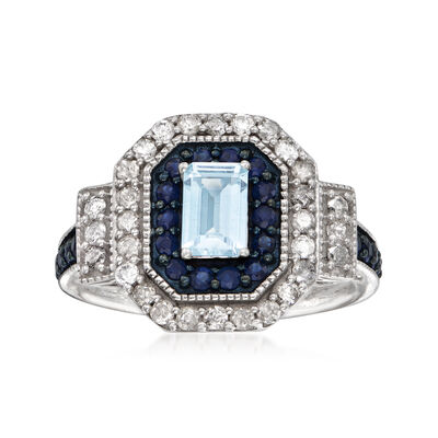.50 Carat Aquamarine and .80 ct. t.w. Multi-Gemstone Ring in Sterling Silver, , default