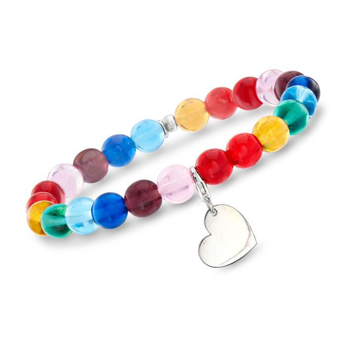 "Italian Rainbow Murano Glass Bead Stretch Bracelet with Sterling Silver Heart Charm. 7"""