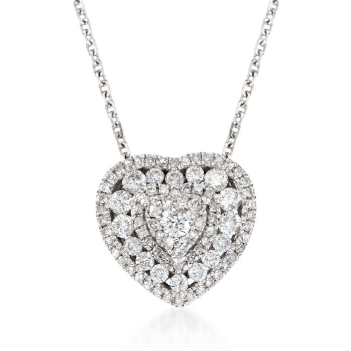 .50 ct. t.w. Diamond Heart Pendant Necklace in 14kt White Gold