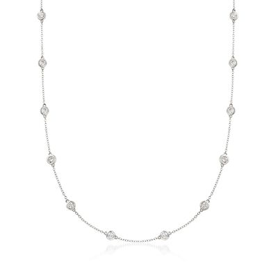 1.50 ct. t.w. Bezel-Set Diamond Station Necklace in 14kt White Gold, , default