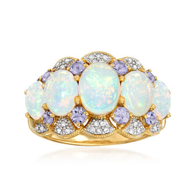 Ethiopian Opal and .45 ct. t.w. Tanzanite Ring with Diamonds in 14kt Yellow Gold, , default