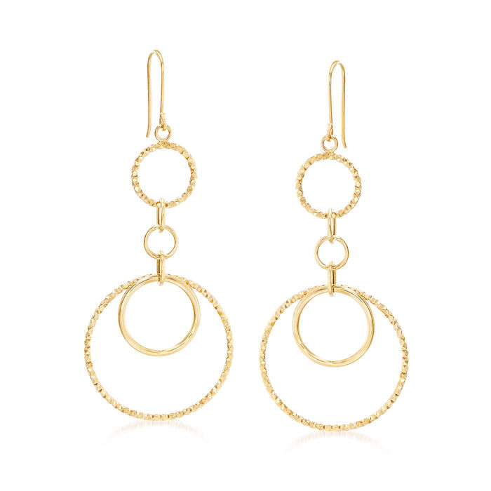 14kt Yellow Gold Textured and Polished Multi-Circle Drop Earrings
