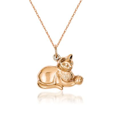 14kt Rose Gold Cat Pendant Necklace, , default