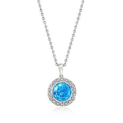 C. 1990 Vintage 4.00 Carat Sky Blue Topaz and .15 ct. t.w. Diamond Pendant Necklace in 14kt White Gold