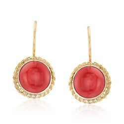 C. 1960 Vintage Coral Drop Earrings in 18kt Yellow Gold, , default