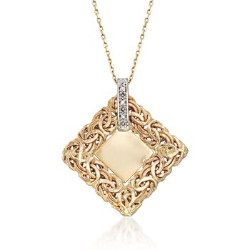 """14kt Yellow Gold Single Initial Byzantine Pendant Necklace With Diamond Accents. 18"""", , default"""