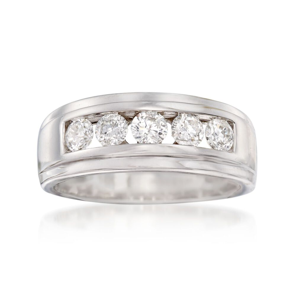 1ct Diamond Bands: Men's 1.00 Ct. T.w. Diamond Wedding Ring In 14kt White