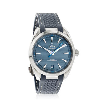 Omega Seamaster Aqua Terra Men's 41mm Stainless Steel Watch With Grey Rubber Strap, , default