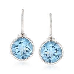 4.70 ct. t.w. Bezel-Set Blue Topaz Drop Earrings in Sterling Silver, , default