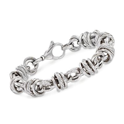 Italian Sterling Silver Multi-Circle Link Bracelet, , default