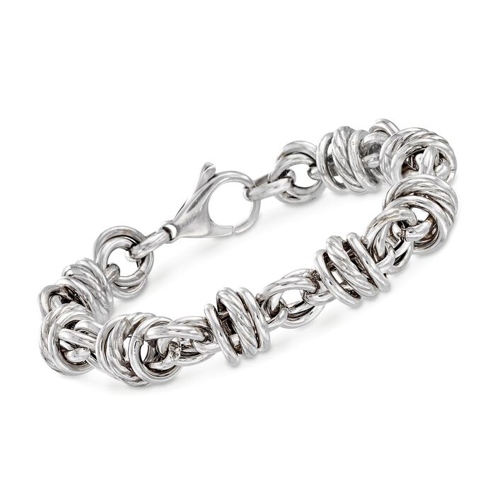 "Italian Sterling Silver Multi-Circle Link Bracelet. 7"""