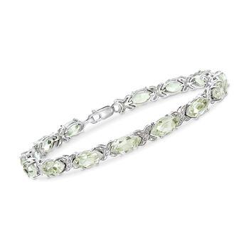 18.00 ct. t.w. Green Amethyst Bracelet in Sterling Silver, , default